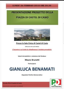 Presentazione del progetto piazza di Castel di Casio @ Sala Civica (Adiacente la scuola media)   Emilia-Romagna   Italia